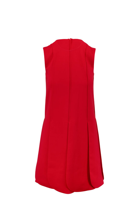 Valentino Red Crepe Couture Petal Skirt Sleeveless Dress