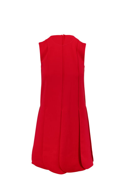 Valentino - Red Crepe Couture Petal Skirt Sleeveless Dress