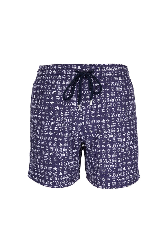 Vilebrequin Moorea Fortune Teller Turtles Navy Swim Trunks