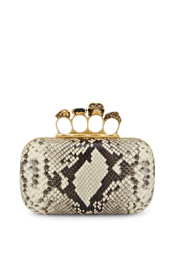 Alexander McQueen Natural Python Four-Ring Knuckle Clutch