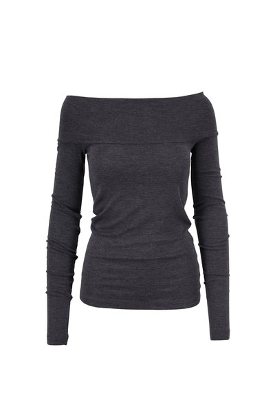 Brunello Cucinelli - Exclusively Ours! Charcoal Off-The-Shoulder Top