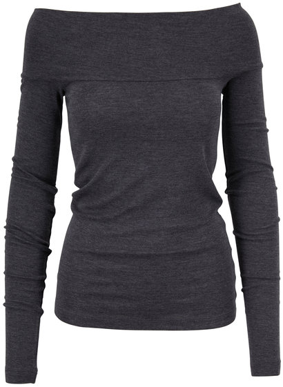 Brunello Cucinelli Exclusively Ours! Charcoal Off-The-Shoulder Top