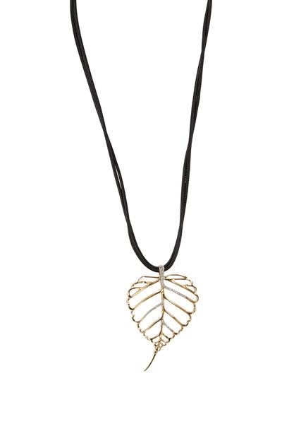 Assael - Angela Cummings Gold Leaf Diamond Pendant