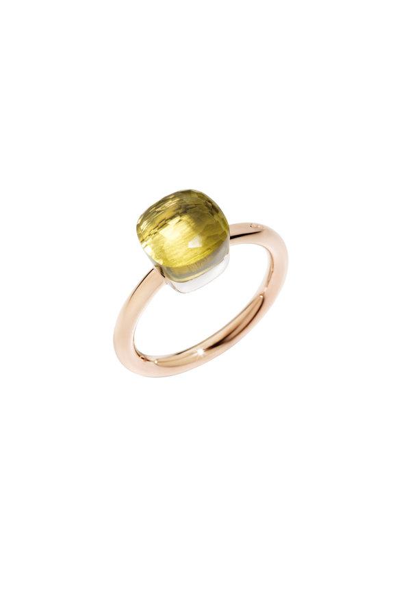 Pomellato 18K Rose Gold Nudo Lemon Quartz Ring