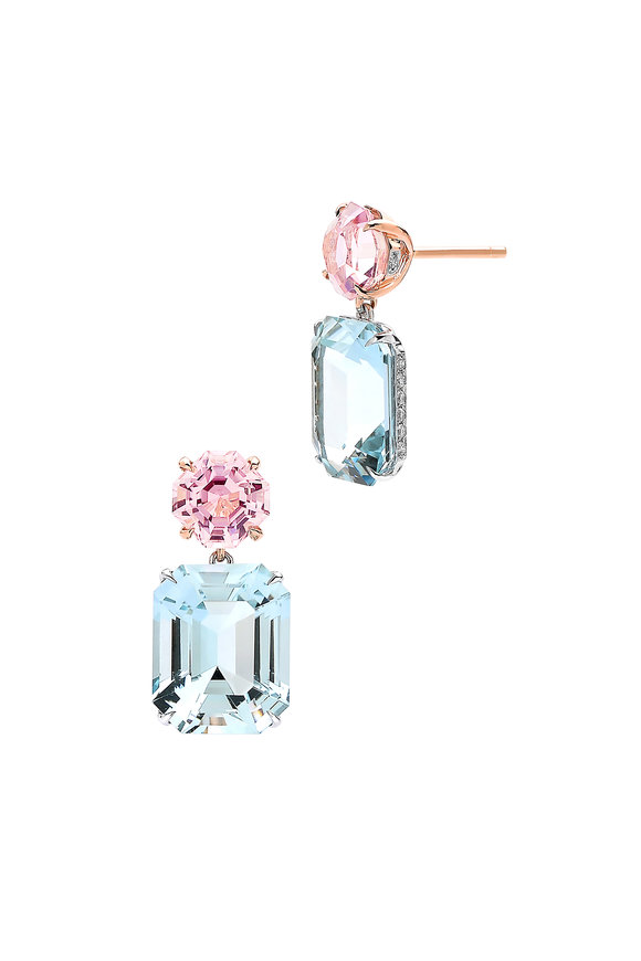 Paolo Costagli 18K White & Rose Gold Aquamarine Earrings