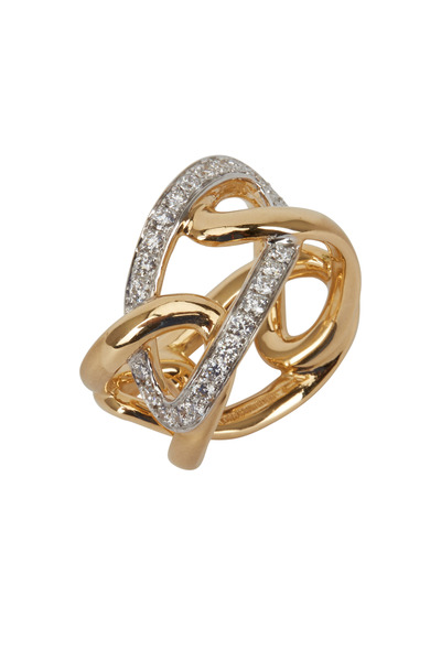 Assael - Angela Cummings Yellow Gold Diamond Scupted Ring