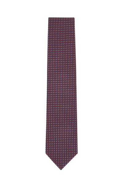 Brioni - Orange & Light Blue Geometric Silk Necktie