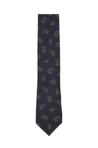 Brioni - Brown Paisley Silk Necktie
