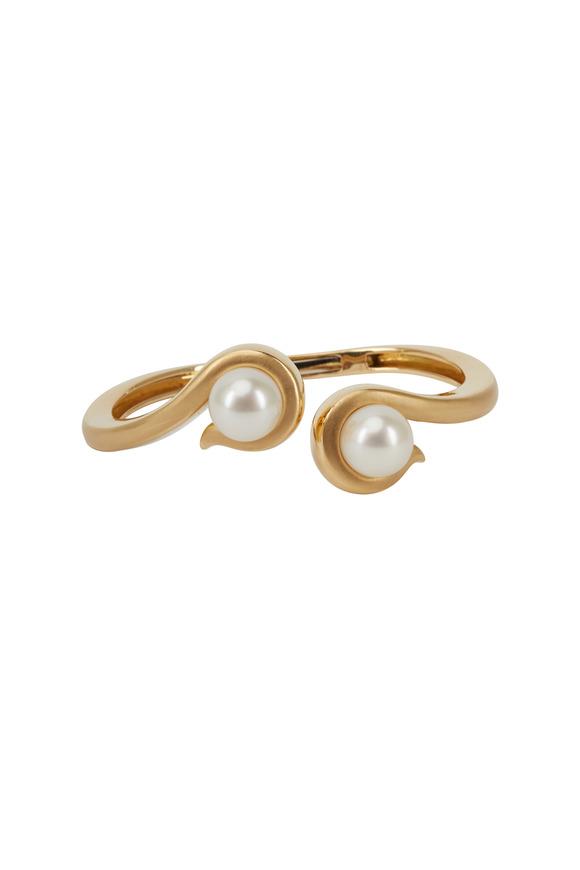Assael Angela Cummings Gold Double Scroll Pearl Bracelet