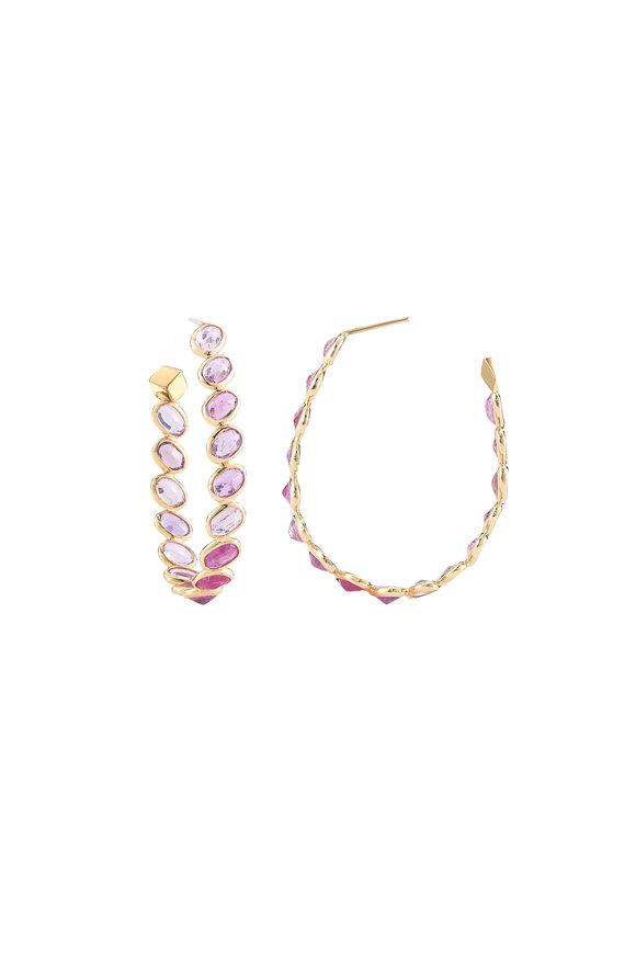 Paolo Costagli 18K Yellow Gold Ombré Pink Sapphire Hoop Earrings