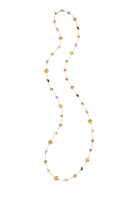 Paolo Costagli 18K Yellow Gold Citrine & Pink Sapphire Necklace