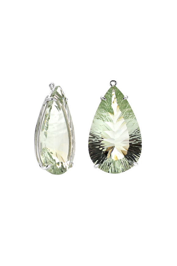 Paolo Costagli 18K White Gold Green Amethyst Ear Pendants