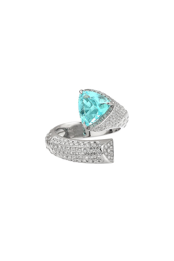 Paolo Costagli 18K White Gold Paraiba & Diamond Ring