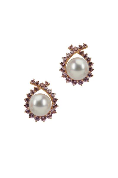Assael - Angela Cummings Pearl & Sapphire Button Earrings