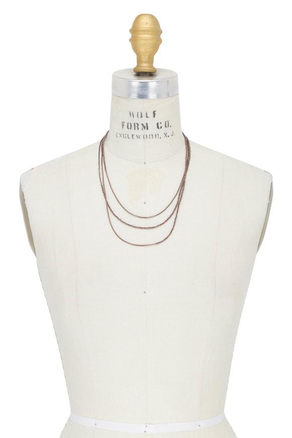 Brunello Cucinelli Brown Hematite Wrap Convertible Necklace