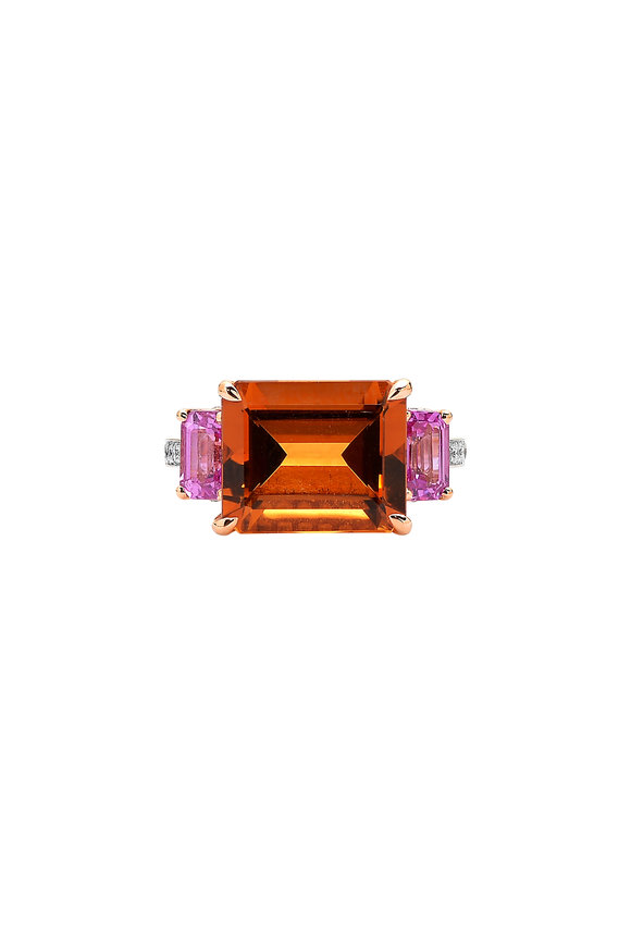 Paolo Costagli 18K Rose Gold Gemstone Cocktail Ring