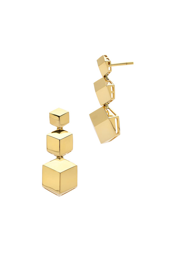 Paolo Costagli 18K Yellow Gold Brillante Three Drop Earrings