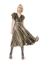 Michael Kors Collection - Gold & Silver Leopard Short Puffed Sleeve Dress