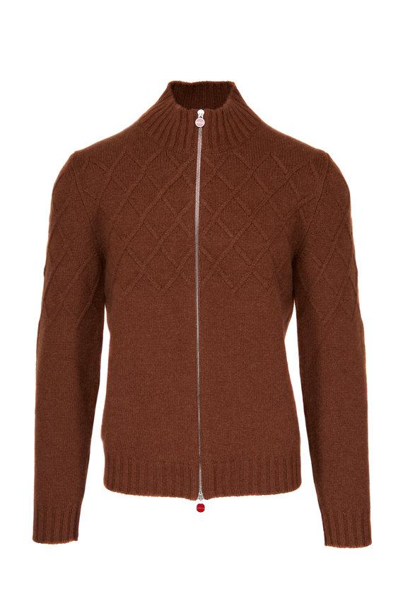 Kiton Brown Vicuna Front Zip Sweater