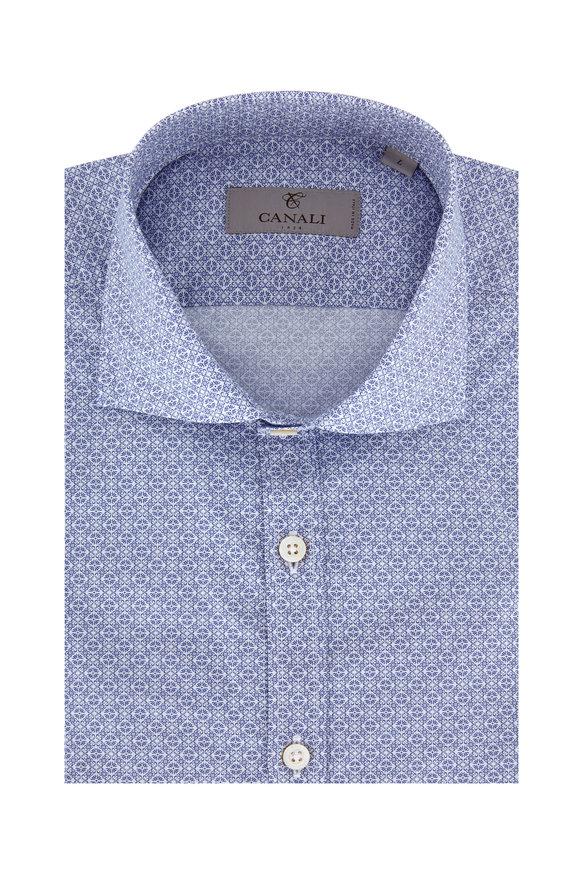 Canali Navy Blue Floral Modern Fit Sport Shirt