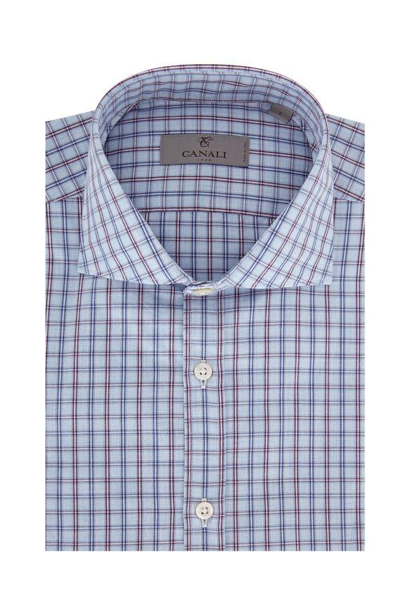 Canali Light Blue & Burgundy Plaid Modern Fit Sport Shirt