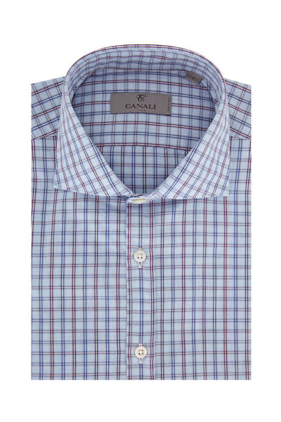 Canali - Light Blue & Burgundy Plaid Modern Fit Sport Shirt