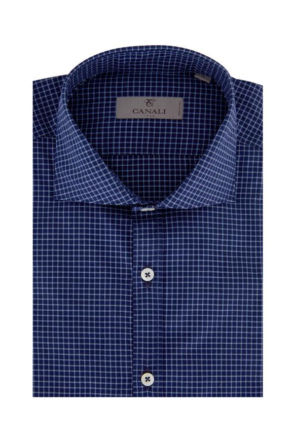 Canali Navy Blue Check Modern Fit Sport Shirt