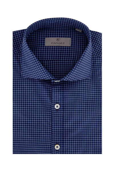 Canali - Navy Blue Check Modern Fit Sport Shirt