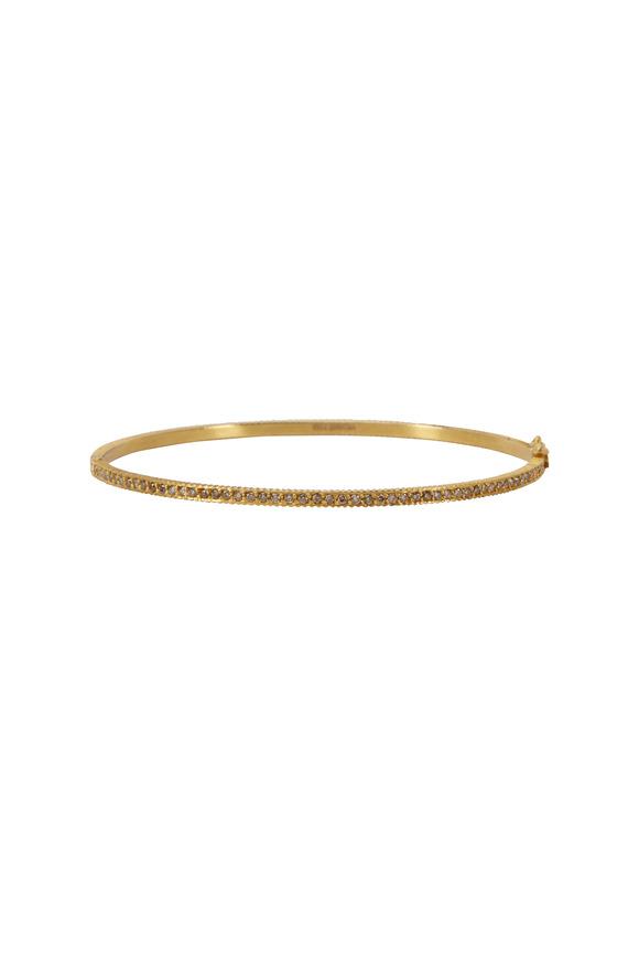 Yossi Harari 24K Yellow Gold Full-Cut Champagne Diamond Bangle