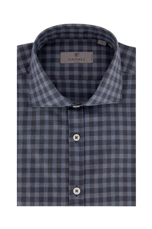 Canali Blue & Gray Buffalo Plaid Modern Fit Sport Shirt