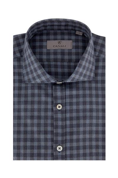 Canali - Blue & Gray Buffalo Plaid Modern Fit Sport Shirt