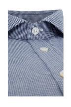 Canali - Navy Blue Mini Houndstooth Sport Shirt