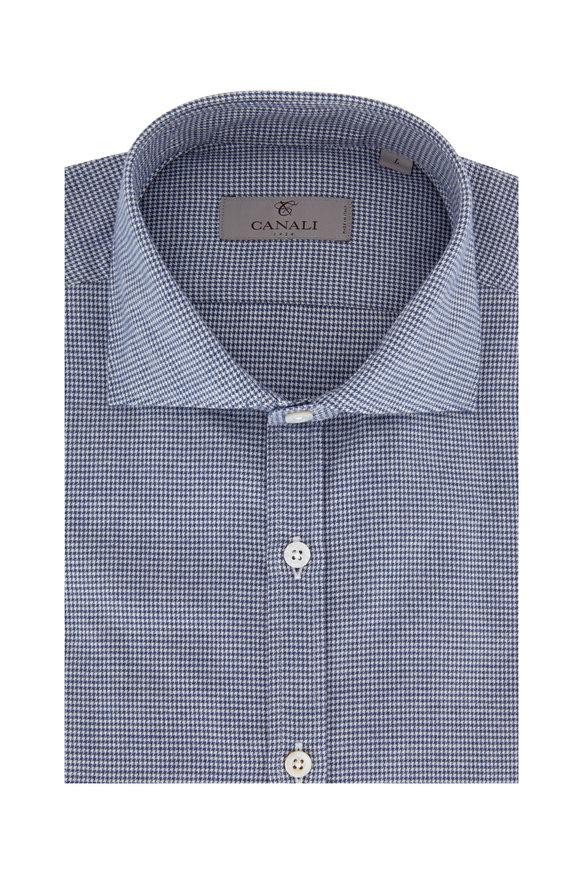 Canali Navy Blue Mini Houndstooth Sport Shirt