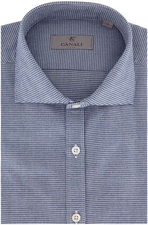 Canali Navy Blue Mini Houndstooth Sport Shirt