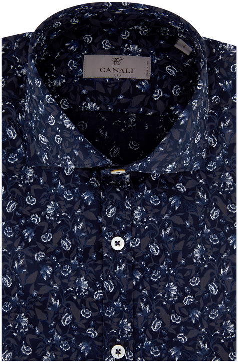 Canali Navy & White Floral Modern Fit Sport Shirt