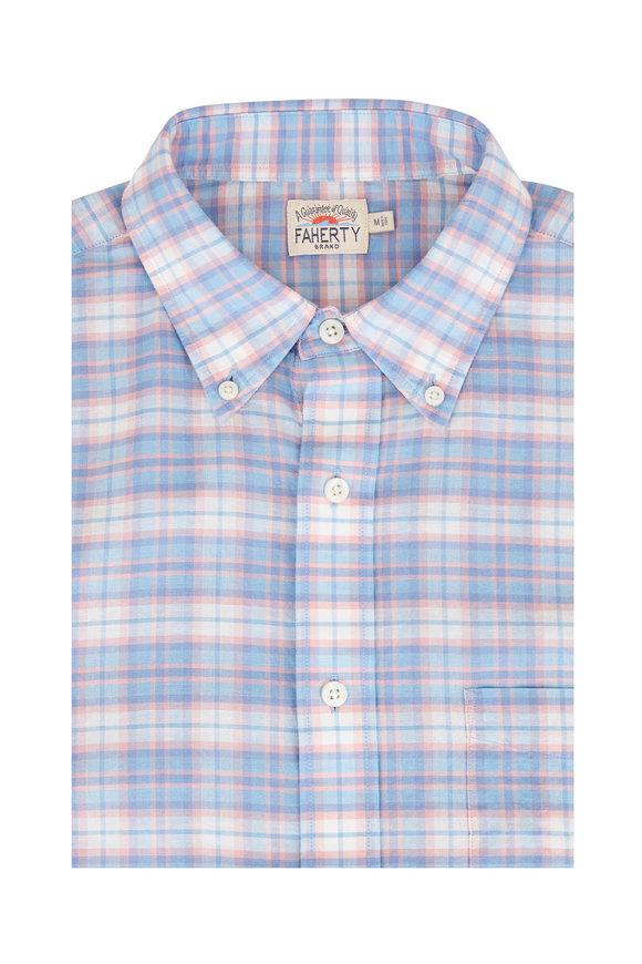 Faherty Brand Blue & Red Plaid Stretch Sport Shirt