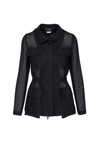 Akris - Black Boucle Openweave Jacket