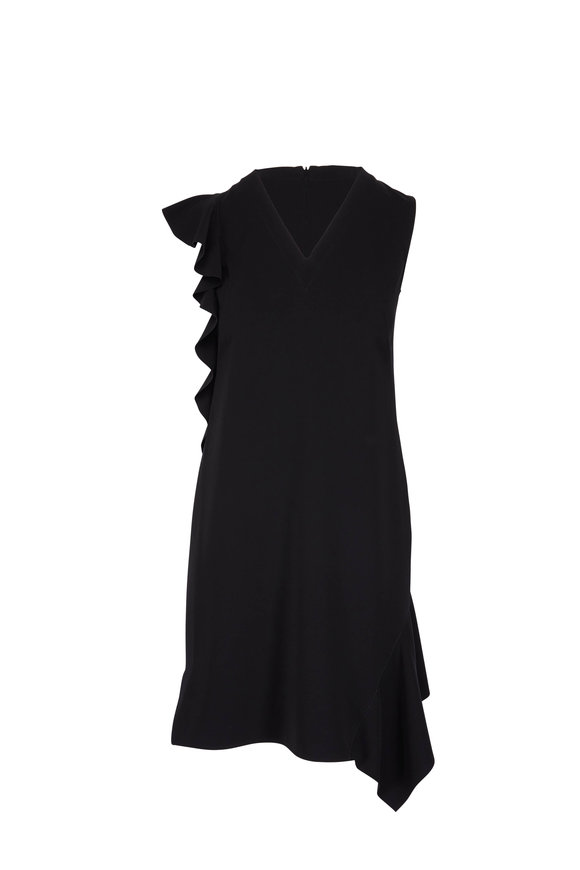 Akris Punto Black Lasercut Ruffle Sleeveless Dress