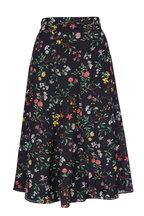 Altuzarra - Caroline Black Silk Floral Full Skirt