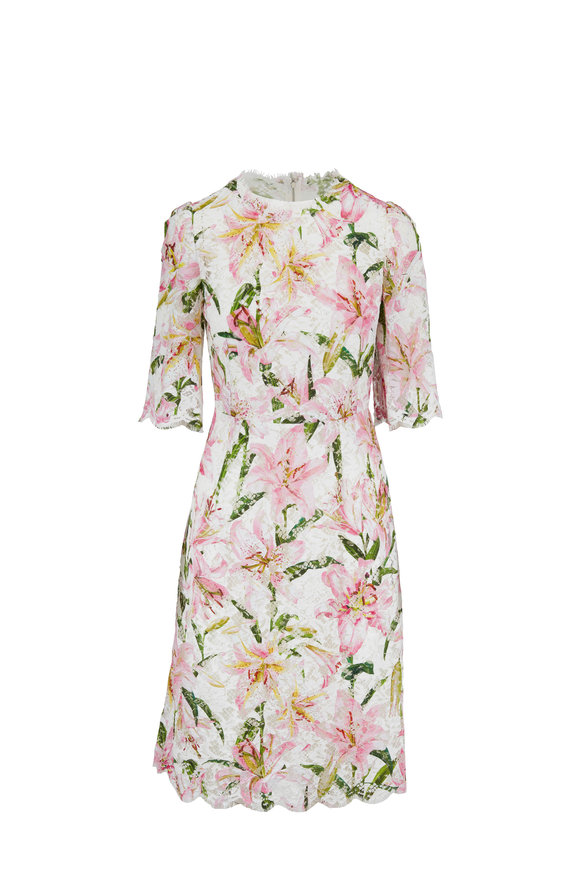 Dolce & Gabbana Pink & White Lily Print Lace Elbow Sleeve Dress