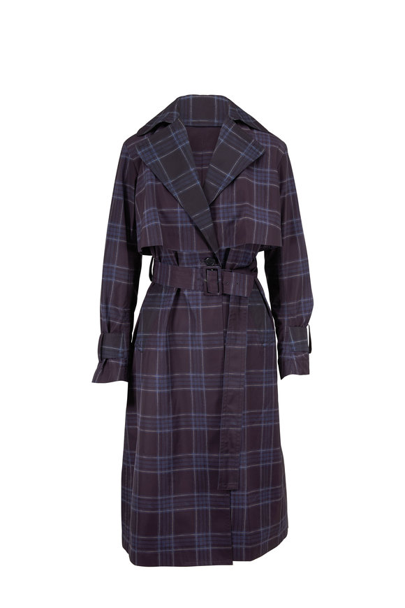 Vince Marine Plaid Lightweight Trench Coat