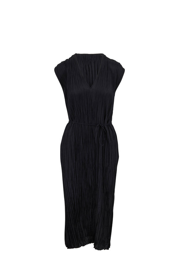 Vince Black Crinkle Pleat Cap Sleeve V-Neck Dress