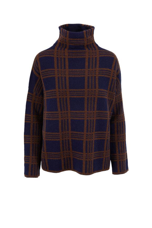 Vince Marine & Umbra Cashmere Tartan Plaid Sweater