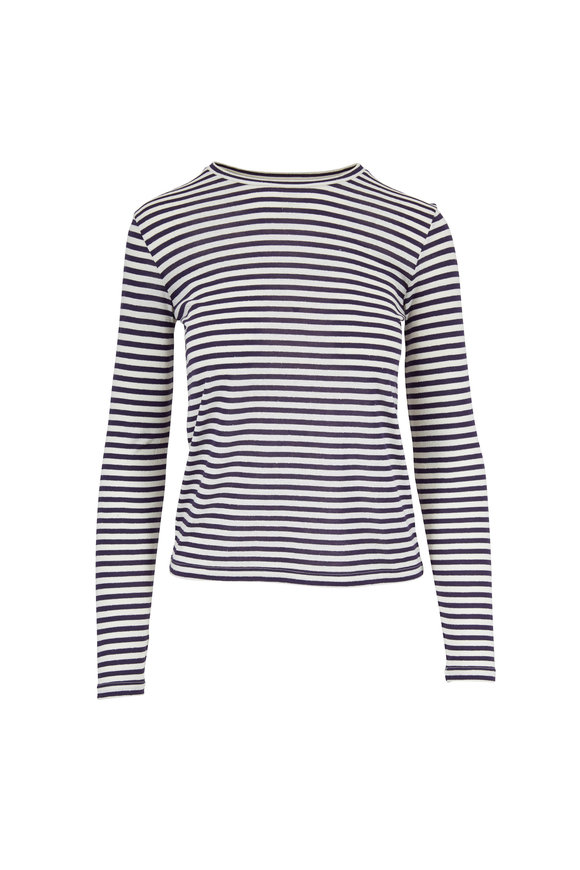 Vince Natural & Marine Stripe Long Sleeve T-Shirt