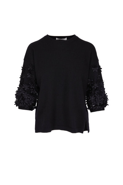 Valentino - Black Beaded Floral Applique Sweater