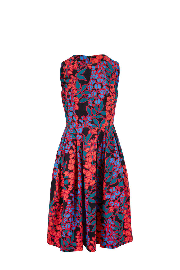 Carolina Herrera Black Multi Floral Sleeveless Dress