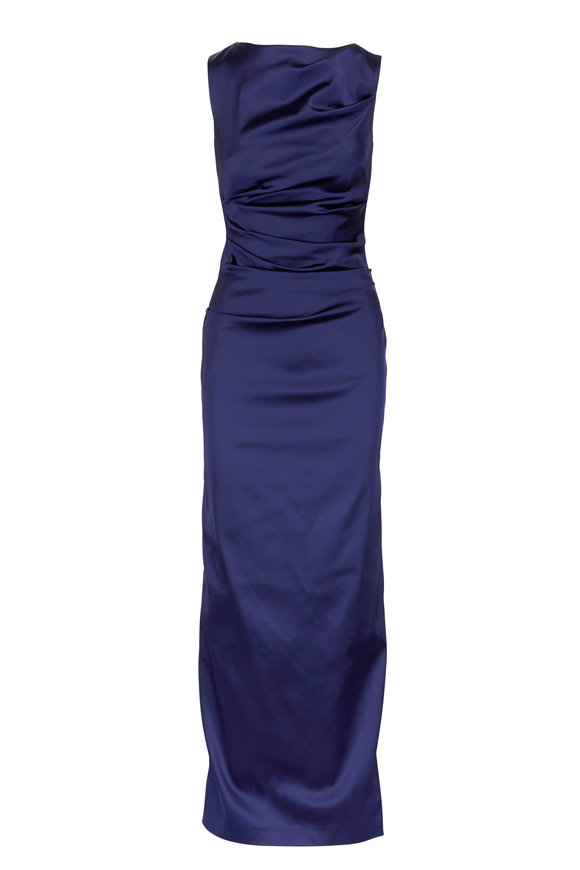 Talbot Runhof Royal Blue Satin Rouched Sleeveless Gown