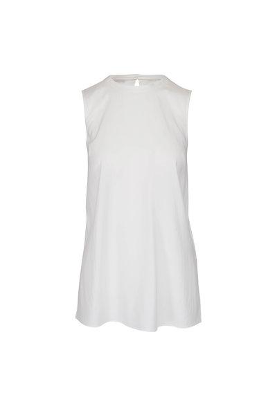 Brunello Cucinelli - White Stretch Silk Monili Trim Sleeveless Blouse