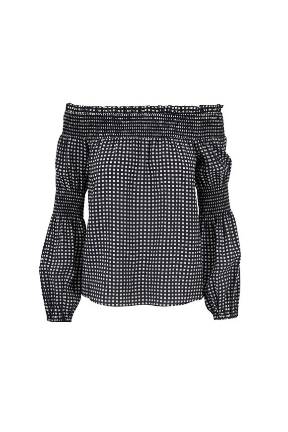 L'Agence Mona Black & White Check Off-The-Shoulder Blouse