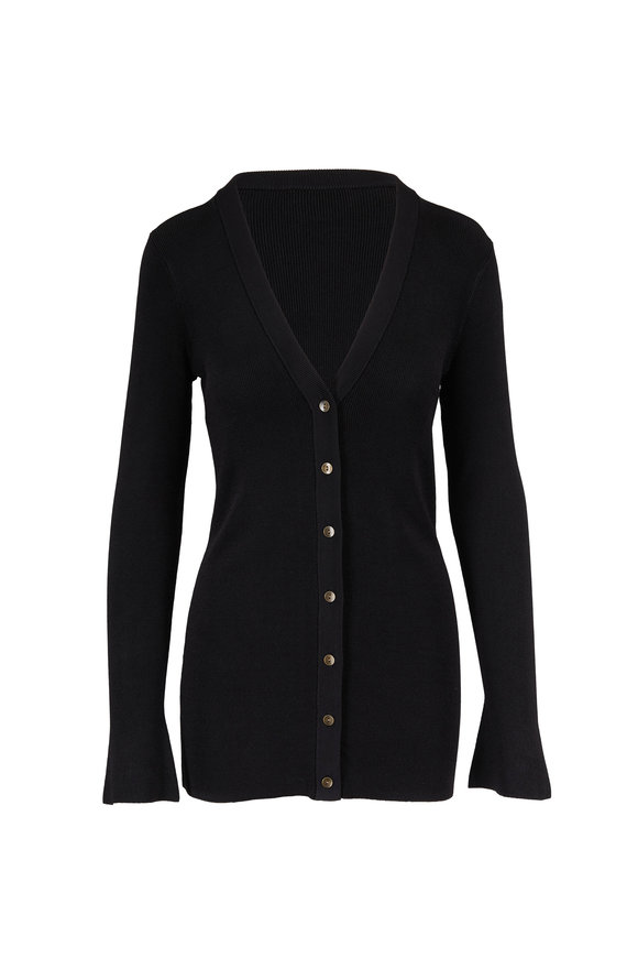 L'Agence Lucas Black Ribbed Long Button Front Cardigan